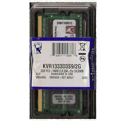 MEMORIA SODIMM DDR3 2GB 1333MHZ CL9 KINGSTON