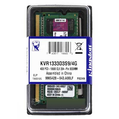 MEMORIA SODIMM DDR3 4GB 1333MHZ CL9 KINGSTON