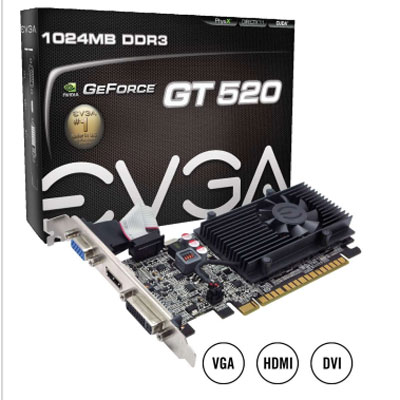PLACA VIDEO PCI-E GEFORCE GT520 EVGA 1GB VGA DVI HDMI