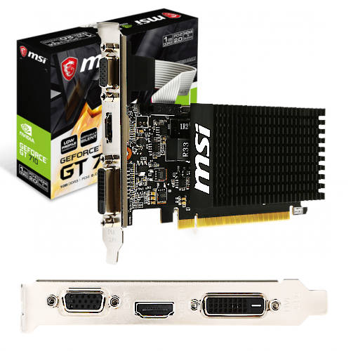 PLACA VIDEO PCI-E 1GB GEFORCE GT 710 MSI NVIDIA DDR3 VGA,HDMI,DVI-D LOW PROFILE