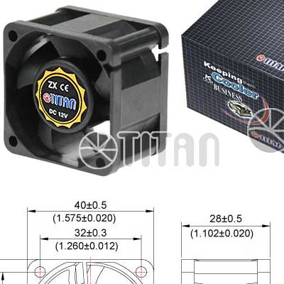 FAN 40MM 3PIN TITAN TFD-4028M12B 8000RPM RULEMx2