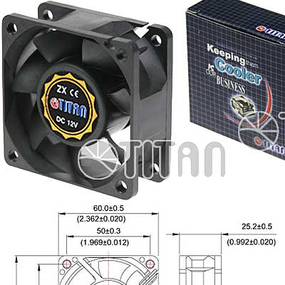 FAN 60mm 3PIN 25mm ESPESOR 4500RPM BUJE TITAN