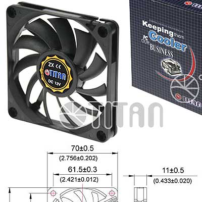 FAN 70mm 3PIN 10mm ESPESOR 3500RPM RULEM+BUJE TITAN