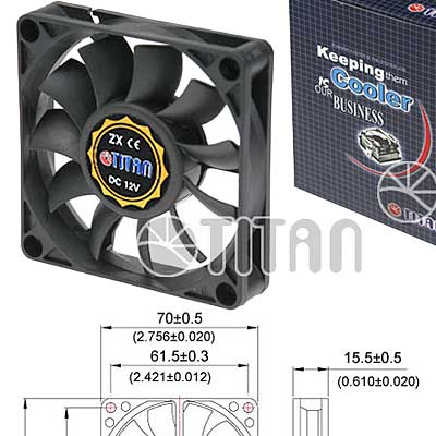 FAN 70mm 3PIN 15mm ESPESOR 3500RPM BUJE TITAN