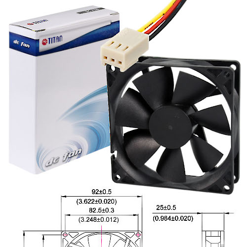 FAN  92MM 3PIN TITAN TFD-9225M12S S/LUZ 2200RPM BUJE