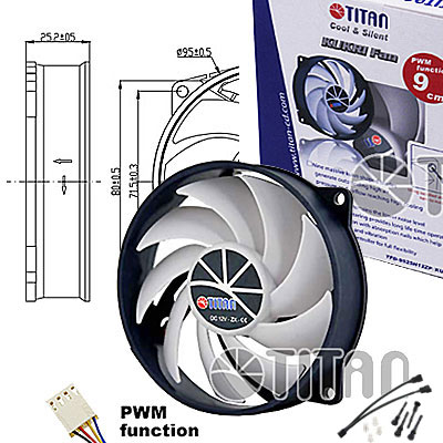 FAN  95MM 4PIN TITAN TFD-9525H12ZP/KU-RB S/LUZ 3000RPM RULEM