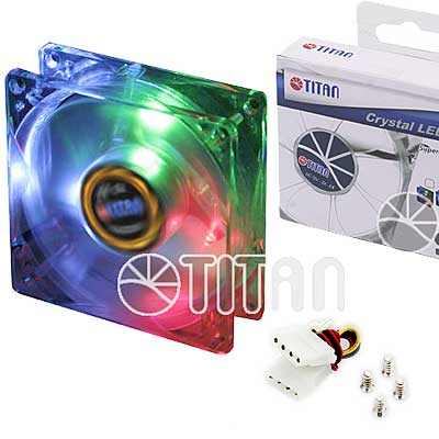 FAN 80mm LUZ LED TRIC 3PIN+ADPT 2000RPM RULEMAN TITAN