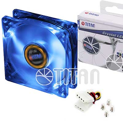 FAN 80mm LUZ LED AZUL 3PIN+ADPT 2000RPM RULEMAN TITAN