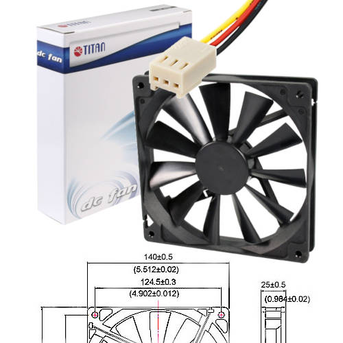 FAN 140mm 3PIN 25mm ESPESOR 1500RPM RULEM+BUJE TITAN