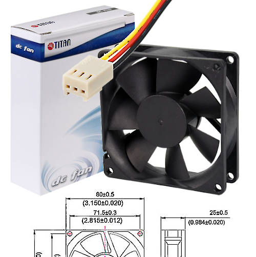 FAN 80mm 3PIN 25mm ESPESOR 2500RPM BUJE TITAN