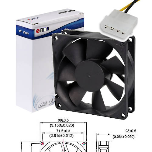FAN 80mm MOLEX 25mm ESPESOR 2500RPM BUJE TITAN