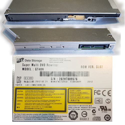 GRABADORA DVD SLIM 12,7 MM SATA HITACHI-LG GT40N S/FRENTE