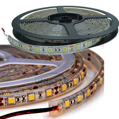 TIRA LUCES LED BLANCO CALIDO 12VCC ROLLO 5MTS EXTERIOR SMD-5050 ESTANDAR